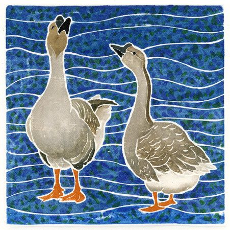 Willy Reddick, white line woodblock print: Two Geese.