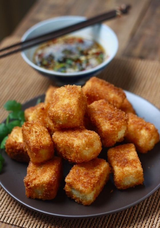 Fried Tofu With Sesame Soy Dipping Sauce Recipe Food Recipes Fried Tofu