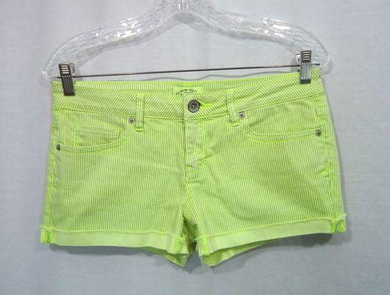 Juniors AEROPOSTALE Neon Yellow/Gray Striped Denim Shorty Jean Shorts , Size 7/8 #Aropostale #Denim