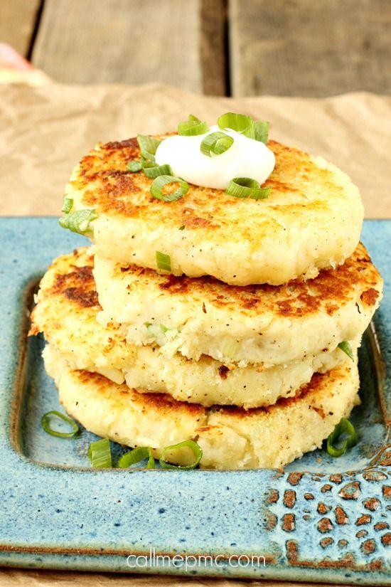 Potato cakes, Parmesan mashed potatoes and Parmesan potatoes on ...