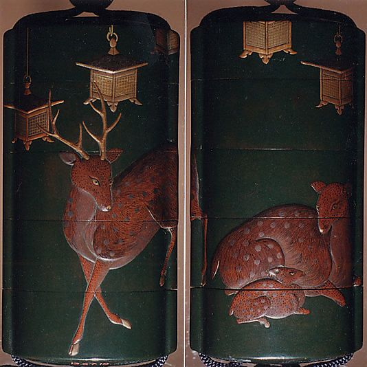 Case (Inrô) with Design of Deer and Lanterns at Kasuga Shrine  Yamada School  Period: Edo period (1615–1868) Date: ca. 1800 Culture: Japan Medium: Gold and silver maki-e and pewter on dark green lacquer Ojime: Coral bead Netsuke: Carved wood in shape of mouse on mushroom