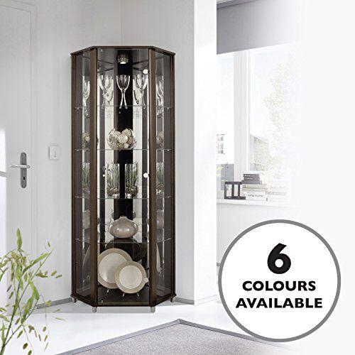 Home Corner Glass Door Display Cabinet Wenge Dark Wood With 4 Moveable Glass Shelves Spotlight Interior Furniture Living Room Glass Cabinet Furniture