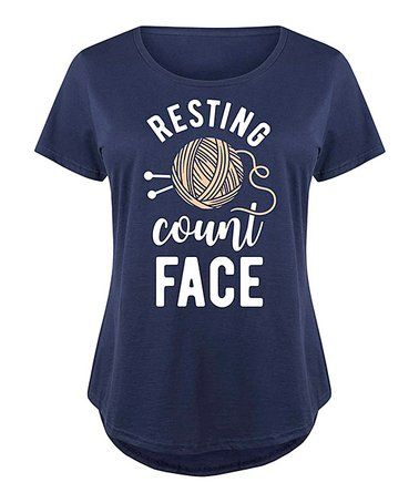 This Navy 'Resting Count Face' Scoop Neck Tee - Plus is perfect! #zulilyfinds