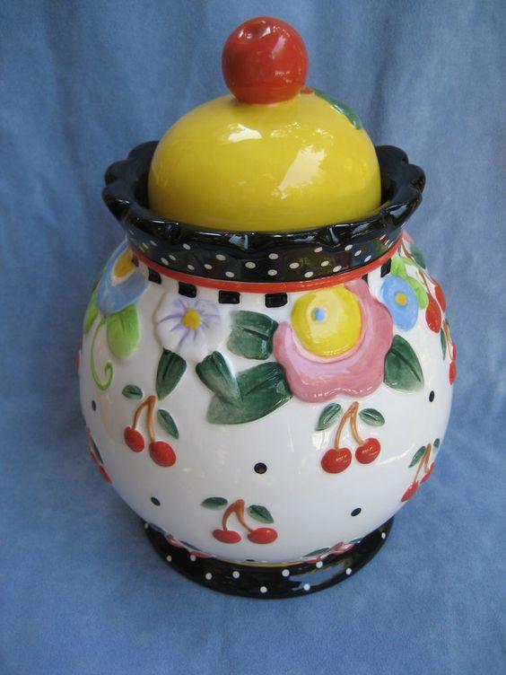 Mary Engelbreit Canister Jar Cherries Polka Dots Xlnt Cond. Ceramic Pristine