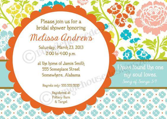 Bridal Shower Wedding Invitation DIY PRINTABLE Bright Floral – Bible Verses for Wedding Invitation Cards