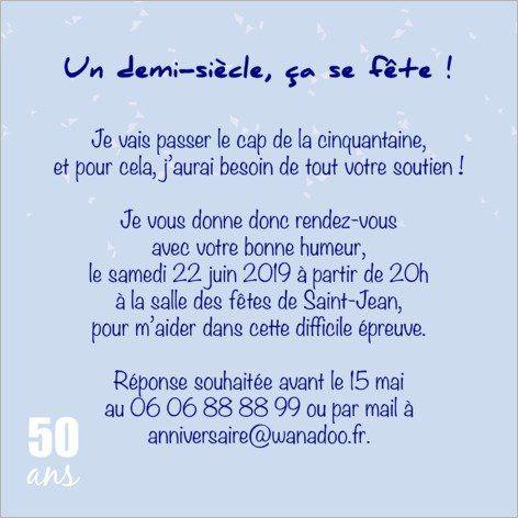 Carte d'Invitation Anniversaire 50 ans - Popcarte