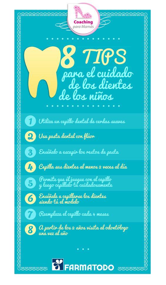 8 tips para el cuidado de los dientes de los niños #Bebe #Salud #Familia