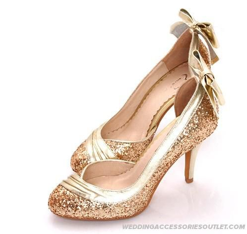 Bow Sequined Wedding Bridal Shoes