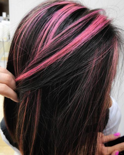 19 Hottest Black Hair With Highlights Trending In 2020 Straight Black With Pink Highlig In 2020 Black Hair With Highlights Hair Highlights Hair Color For Black Hair
