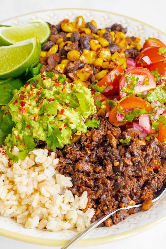 Mushroom Burrito Bowl with Smoky Black Beans & Salsa