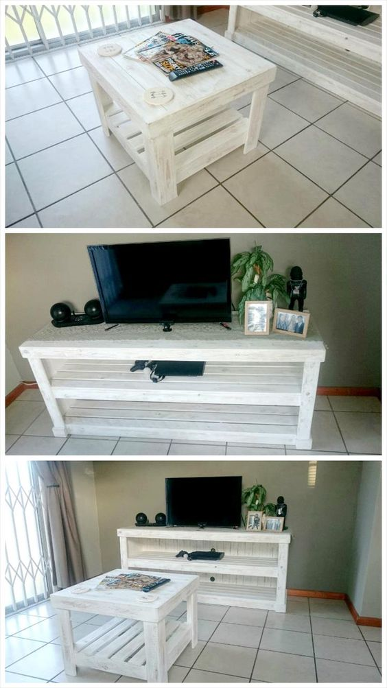 Chic White Pallet Media Console & Coffee Table Set - Why We Love Pallet Projects (And You Should, Too!) | Pallet Furniture DIY - Part 2