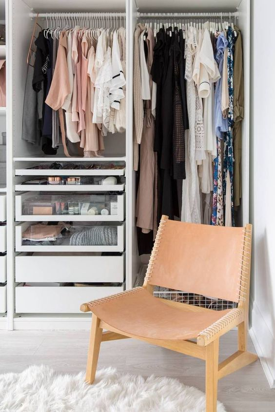 walk-in closet created with a PAX wardrobe!