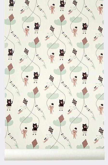 Ferm Living Behang Kite roze papier 10.05x0.53cm - wonenmetlef.nl