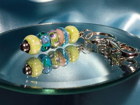 """Sea Breeze"" Lampwork Bead Key Chain"
