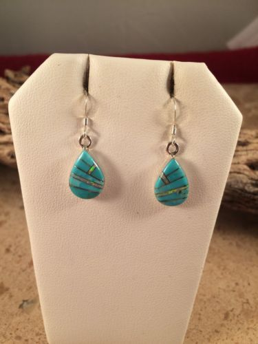 Zuni Sterling Silver,Turquoise And Opal Inlay Earrings Signed