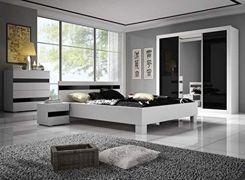 Chambre A Coucher Complete Lucca Design Laque Brillant Noir Et
