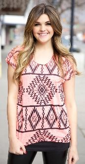 Tribal Print Top in neon coral!! So excited for this color is back!! $28.99!!