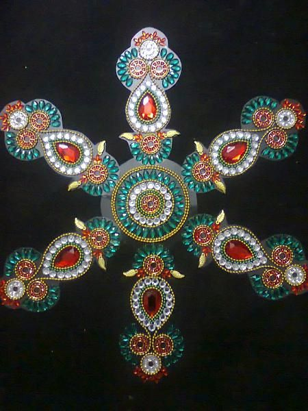 17 best images about work rangoli design and rangoli designs for Aarti thali decoration with kundan