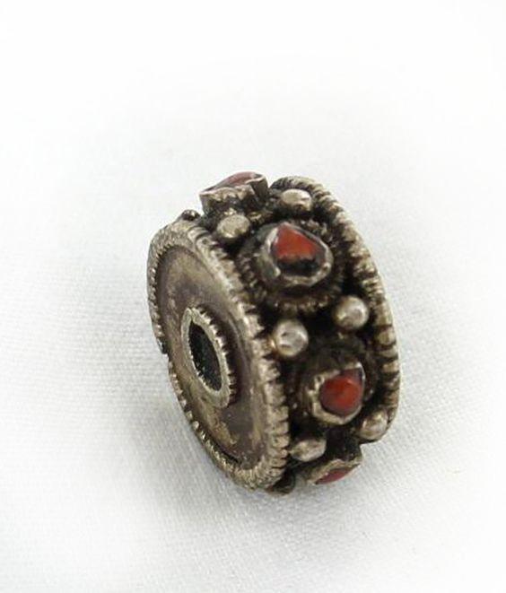 Antique Tibetan Coral Sterling Centerpiece Bead