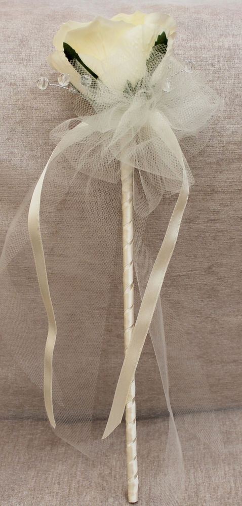 IVORY White SILK Rose Diamante & Tulle Flower Girl Wand ~ Wedding ~ Bridesmaid
