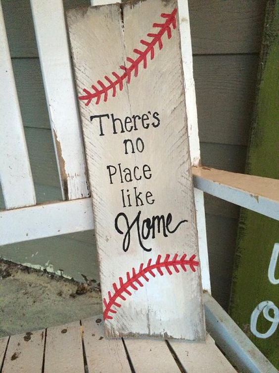 baseball sign Rustic There's no place like by SplendorInTheRough