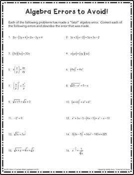 Printables Calculus Worksheets algebra errors to avoid free worksheet because the hardest part of calculus is the