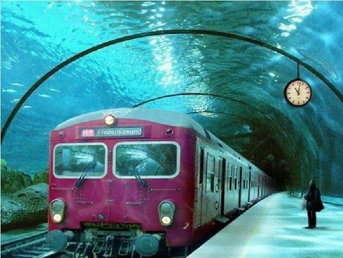 Underwater train in Venice, Italy.: