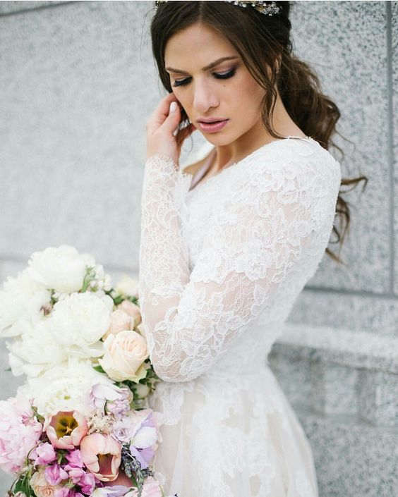 modest wedding dress with long sleeves sleeves from alta moda. -- (modest bridal gown)