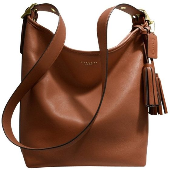 Coach Legacy Leather Duffle Shoulder Handbag , Cognac featuring polyvore, women's fashion, bags, handbags, shoulder bags, bolsas, purses, handbags totes, zipper pouch, zippered tote bag, leather zip tote and leather zipper pouch