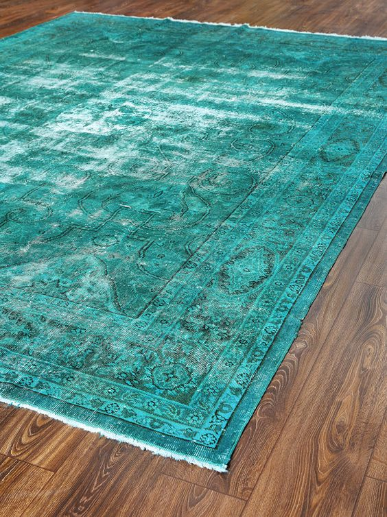 141x106 Inches Wool Carpets Patchwork Rug Turquoise Color