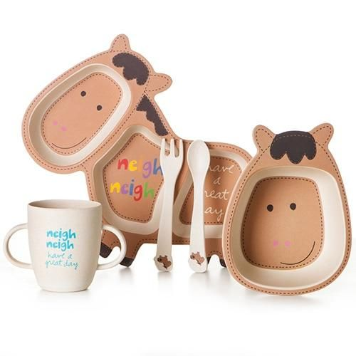 Six Animal Shaped Designs 5 Piece Set Of Bamboo Fiber Children S Tableware Baby Dishes Toddler Dishes Eco Frie Kids Dinnerware Kids Tableware Tableware Set