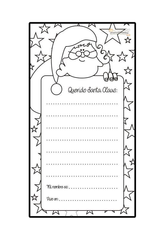Carta a Santa Claus para imprimir y colorear: