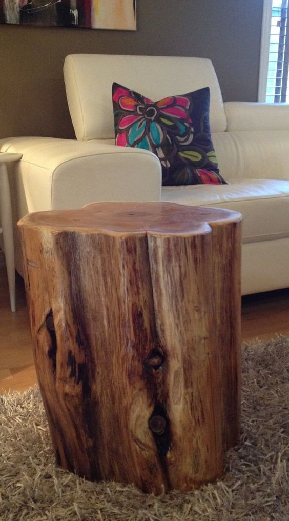 Large wood stump side tables end tables coffee tables for Large reclaimed wood coffee table