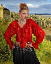 Wisna Ruffled Red Velvet Blouse Pirate Renaissance Large