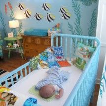 cool blue painted crib