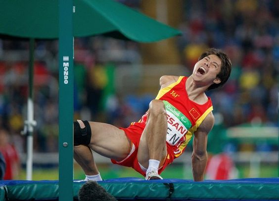 Handout image supplied by OIS/IOC showing China's Hongjie Chen competing in the Men's High Jump - T47 Final at the Olympic Stadium during the Rio 2016 Paralympic Games in Rio de Janeiro, Brazil, on September 16, 2016..Photo by Simon Bruty/OIS/IOC via AFP. RESTRICTED TO EDITORIAL USE / AFP / OIS/IOC / Simon Bruty for OIS
