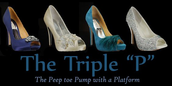 The must-have wedding shoe? The peep-toe platform pump, of course! Shoes from left to right: Goodie-Navy by #BadgleyMischka, High-Society by MyGlassSlipper.com, Ginnie-Teal by #BadgleyMischka, and Charlize by #BenjaminAdams. All available at http://www.myglassslipper.com/designer-wedding-shoes!