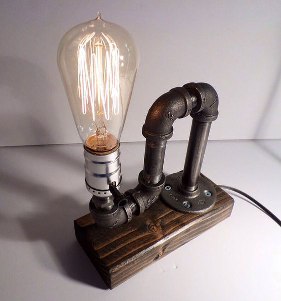 Classic Style Edison Bulb table lamp in Weathered - Antiqued finished wood base - Steam punk style light - New york loft industrial style by UrbanIndustrialCraft on Etsy