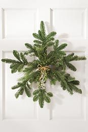 for back door: maybe make with rosemary?? fresh-cut evergreen snowflake wreath