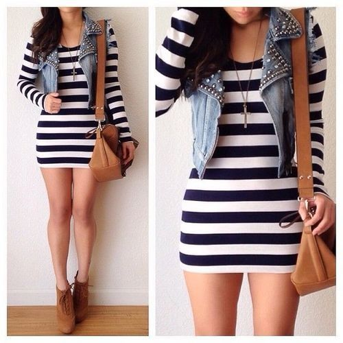 black and white striped dress with jean vest -fashion -outfit ...