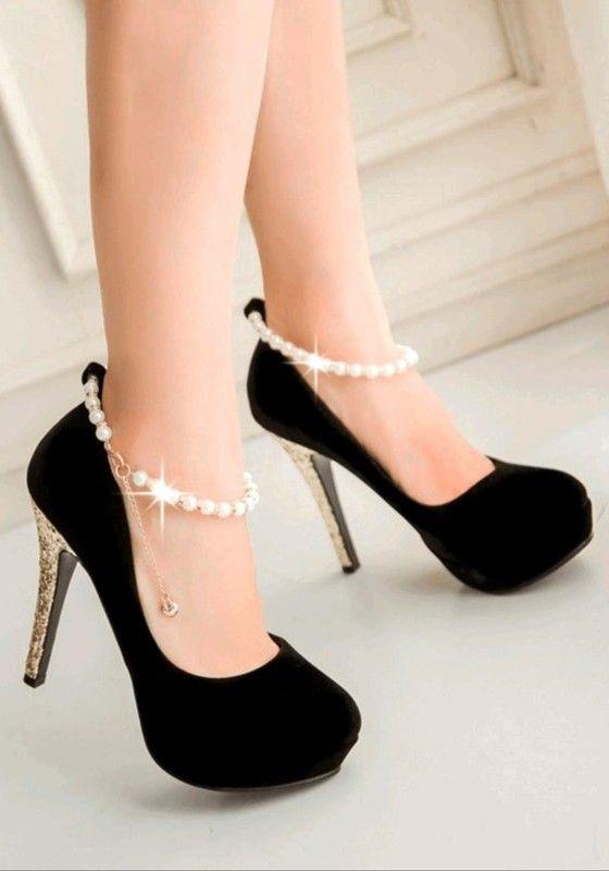 chaussure talon noire paillette
