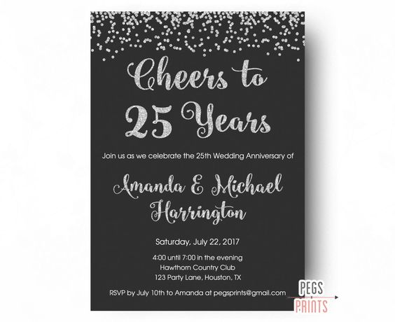 25th Anniversary Invitations - PRINTABLE 25th Wedding Anniversary Invitations…