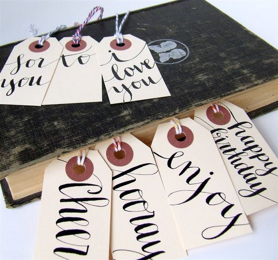 Everyday Gift Tags, Set of 7 Hand Lettered Calligraphy Tags, Black