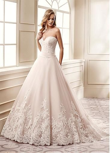 Unique Tulle Sweetheart Neckline A-Line Wedding Dresses With Beaded Lace…