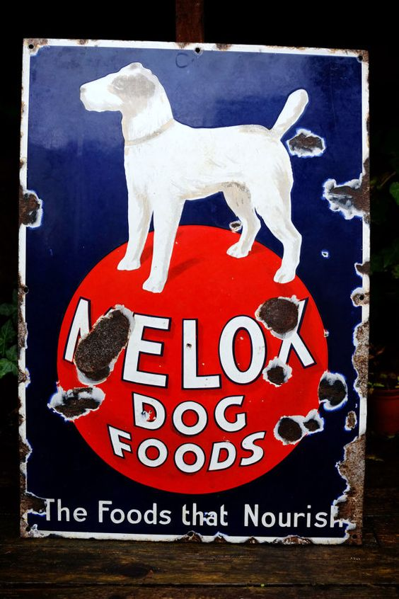 Old Melox Dog Food Antique Vintage Enamel by InterestinOldUnusual