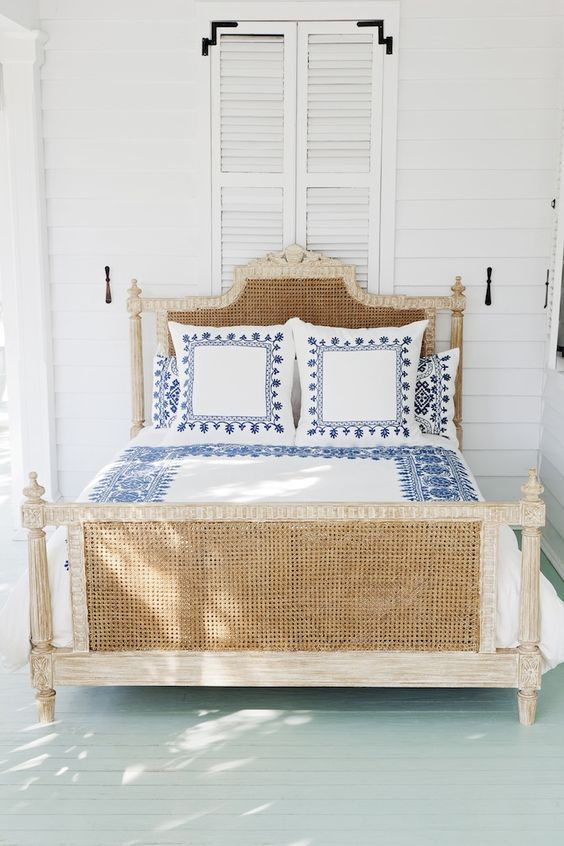 A light wicker bed frame