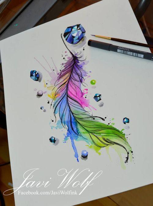 Javi Wolf Aquarellbilder Blumenzeichnung Aquarell Feder