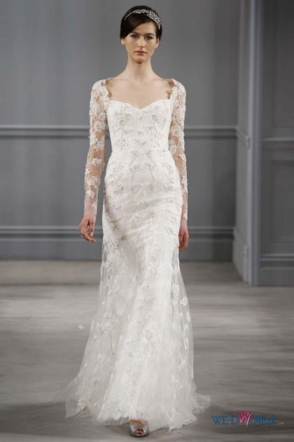 biała suknia ślubna Monique Lhuillier z koronkowami rękawami: