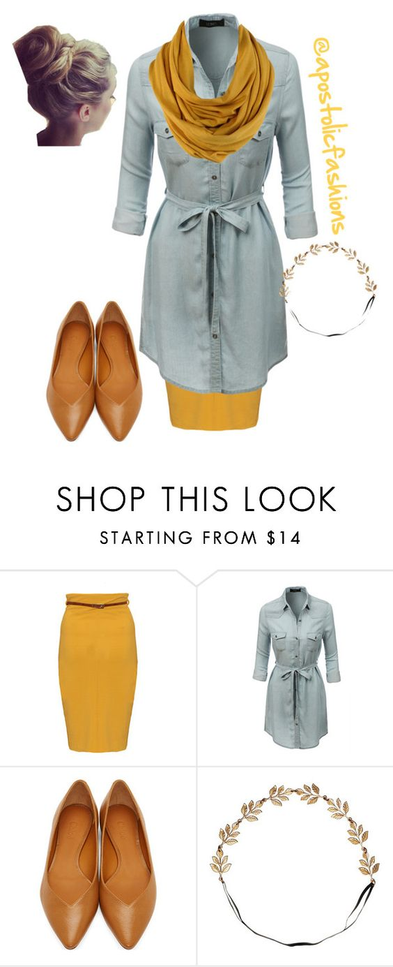 """""""Apostolic Fashions #1120"""" by apostolicfashions on Polyvore featuring LE3NO, Chloé and Eddera"""