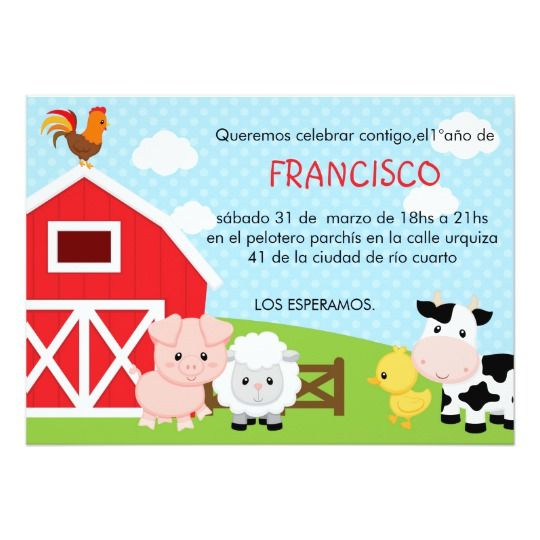 Invitación Del Cumpleaños De La Granja Muchacho Zazzle
